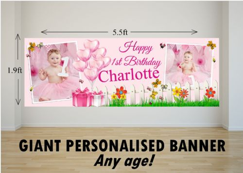 Personalised GIANT Large Pink Girls Butterfly Garden Happy Birthday PHOTO Poster Banner N82 ANY AGE